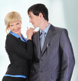 Beautiful blonde woman hugging a man in the suit. Royalty Free Stock Photo