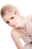 Beautiful blonde woman isolated on white Royalty Free Stock Photo