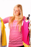 Beautiful blonde woman likes shopping Stock Photo
