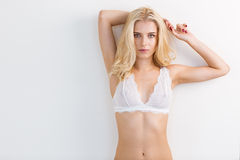 Beautiful blonde woman in lingerie Stock Photography