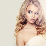 Beautiful Blonde Woman with Long Hair Stock Photo