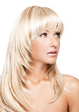 Beautiful blonde woman with long shiny hair Stock Photography
