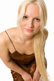 Beautiful Blonde Woman Looking Straight At You Royalty Free Stock Photos