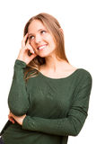 Beautiful blonde woman lost in her thoughts Stock Photos