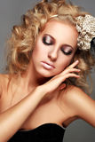Beautiful Blonde Woman with makeup Stock Photos