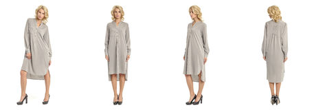 Beautiful blonde woman in maxi shirt dress isolated on white Royalty Free Stock Photo