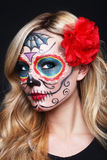 Beautiful Blonde Woman With Painted Sugar Skull Art Royalty Free Stock Images