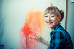 Beautiful blonde woman painter Royalty Free Stock Images
