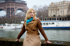 Beautiful blonde woman in Paris Royalty Free Stock Photos