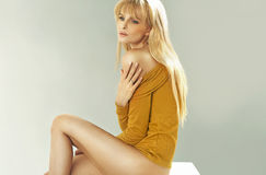 Beautiful blonde woman with perfect body Royalty Free Stock Photography
