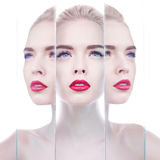 Beautiful blonde woman with perfect makeup red lips Royalty Free Stock Images