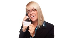 Beautiful Blonde Woman with Phone and Credit Card Stock Photography