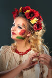 Beautiful blonde woman with poppies wreath Stock Images