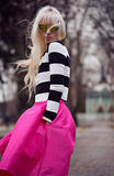 Beautiful blonde woman in posing outdoors Stock Photos