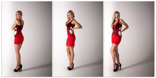 Beautiful blonde woman  in red dress Stock Photos