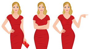 Beautiful blonde woman in a red dress in various poses Stock Photography