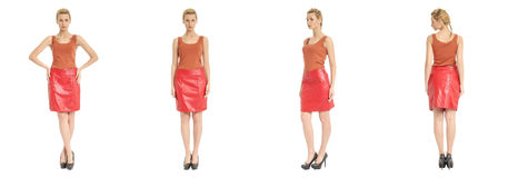 Beautiful blonde woman in red leather skirt isolated over white. Background Royalty Free Stock Photography