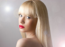 Beautiful blonde woman with red lips Royalty Free Stock Photos