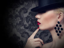 Beautiful blonde woman with red lips and manicure Stock Photos