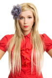 Beautiful blonde woman in red portrait isolated Royalty Free Stock Photos