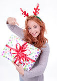 Beautiful blonde woman with reindeer antlers Stock Photography
