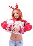 Beautiful blonde woman with reindeer antlers Royalty Free Stock Photography