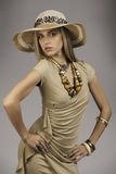 Beautiful blonde woman in safari outfit Royalty Free Stock Photo