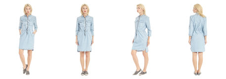 Beautiful blonde woman in shirt dress isolated on white Royalty Free Stock Photos
