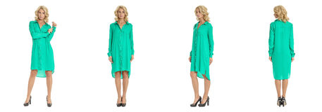 Beautiful blonde woman in shirt dress isolated on white Stock Photo