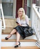 Beautiful blonde woman shopping Stock Image
