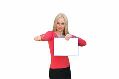 Beautiful blonde woman showing blank poster billboard. Sign woman showing blank poster billboard. Portrait of beautiful charming woman with smile holding up a stock photos