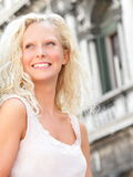 Beautiful blonde woman smiling happy portrait Stock Image