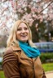 Beautiful blonde woman at spring Royalty Free Stock Photo