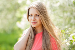 Beautiful blonde woman in spring Royalty Free Stock Photography