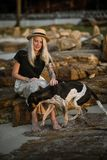 Beautiful blonde woman in straw hat sitting on a rock and petting the good dog. The same color. Thai beach. Morning walk Stock Photography