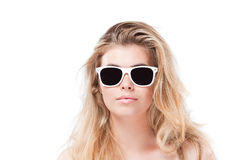 Beautiful blonde woman in sunglasses Stock Photos