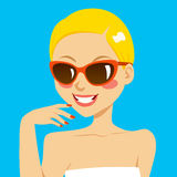 Beautiful Blonde Woman Sunglasses Stock Photo