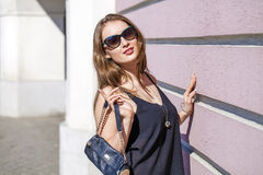 Beautiful blonde woman in sunglasses Stock Photo