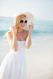 Beautiful blonde woman on a sunny day Royalty Free Stock Image