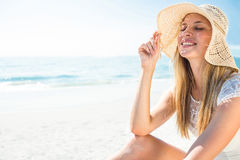 Beautiful blonde woman on a sunny day Stock Photography