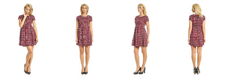 Beautiful blonde woman in tartan dress isolated on white Royalty Free Stock Photography