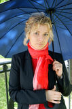 Beautiful blonde woman with umbrella Royalty Free Stock Photography