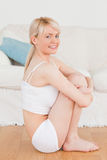Beautiful blonde woman in underwear Stock Image