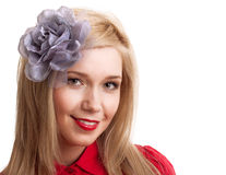 Beautiful blonde woman with vintage flower Royalty Free Stock Photos