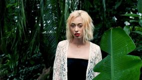 Beautiful blonde woman walking in green tropical forest stock footage