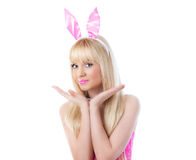 Beautiful blonde woman wearing in bunny ears Stock Images