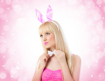 Beautiful blonde woman wearing in bunny ears Royalty Free Stock Image