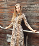 Beautiful blonde woman wearing a leopard dress and sunglasses Stock Photos