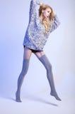 Beautiful blonde woman wearing stockings Stock Images