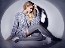 Beautiful blonde woman wearing stockings Royalty Free Stock Photo